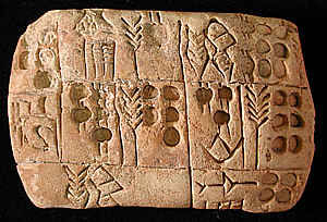 Cuneiform script from Mesopotamia