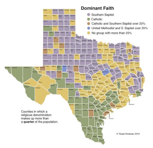 TX Dominant Faiths by County