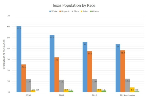 TX Population by Race 1990-2013