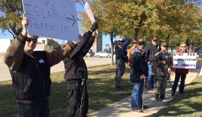 Irving TX mosque protestors